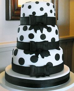 Polka dots...just need to replace black ribbon with color of the brides maids dresses if they are different.