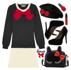 Put a Bow on It! by leslee-dawn on Polyvore featuring Boutique Moschino, Bella Marie, BeiBaoBao, agnès b., MAC Cosmetics, OPI, bows, Moschino and mac