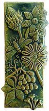 """Botanical & Bugs Ceramic Tile in Green Ochre by Beth Sherman (Ceramic Wall Sculpture) (16"""" x 6.5"""")"""