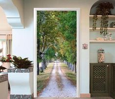 dirt road in the woods door mural Photo Wall Stickers, Door Stickers, Vinyl Doors, Wood Doors, Paper Wallpaper, Custom Wallpaper, Modern Apartment Design, 3d Tree, Door Murals