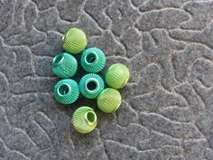 Light and med green metal wire beads #newjewlz #hempjewlz #hemp #jewelry #beads #metal #wire #green