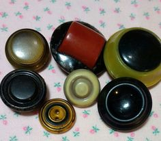 7 Vintage Celluloid Buttons by BygoneButtonBoutique on Etsy