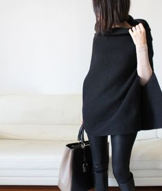 black wool poncho cape felt big stand collar by Afycollection, $78.00