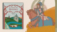 La dama vive apartada en la isla de Shalott, situada en el río que fluye hacia Camelot. Una maldición la ha confinado en el castillo que domina la isla y pasa el día tejiendo las imágenes que ve por la ventana a través de un espejo, pues le está prohibido mirar al exterior. Por allí pasan las gentes hacia Camelot, incluso sir Lancelot, de quien se enamora a primera vista y a quien no puede evitar mirar directamente por la ventana, lo que despierta la maldición. (De 6 a 9 años)