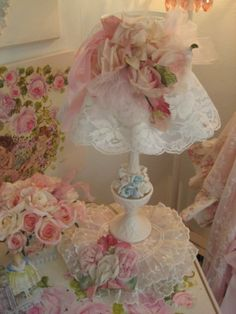 Vintage millinery Rose lamp and shade