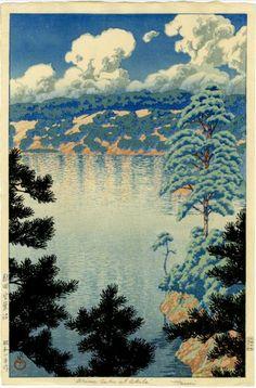Kawase Husai woodblock print lake trees pine