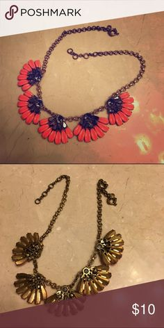 J.Crew Pink/Coral Flower Necklace Perfect condition! J. Crew Jewelry Necklaces