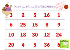 14 Easy Multiplication Charts and Tips - Four In A Row Multiplication - Teach Junkie
