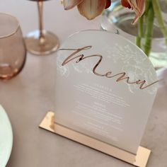 One of our latest designs! Rose gold and frosted white acrylic table menus. We are swooning! Wedding Menu Cards, Wedding Table Settings, Wedding Table Numbers, Wedding Signs, Wedding Stationery Trends, Wedding Stationary, Safari Wedding, Seating Plan Wedding, Minimalist Wedding