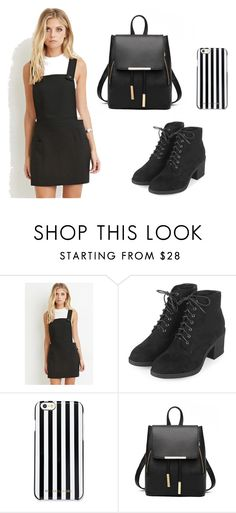 """Black and White"" by alexia-stefi ❤ liked on Polyvore featuring Love 21, Topshop and MICHAEL Michael Kors"