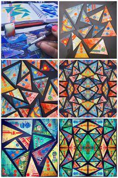 Arts visuels cycle high school art, middle school art, cours d' Middle School Art, Art School, High School Art Projects, Collaborative Art Projects For Kids, 6th Grade Art, Ecole Art, Art Curriculum, Math Art, Art Lessons Elementary