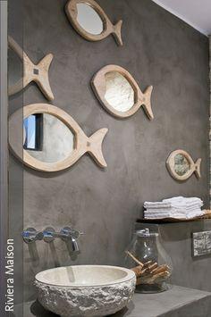Spiegel in Fischform Coastal Decor, Diy Home Decor, Room Decor, Pool House Decor, Creative Kids Rooms, Kitchen Design Gallery, Small Wall Mirrors, Bathroom Mirrors, Vintage Interiors
