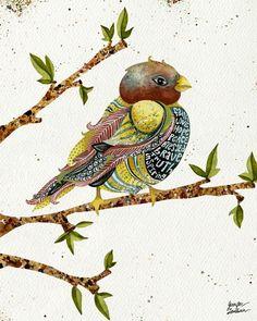 Positivity Bird by TheOpulentNest on Etsy Bird Illustration, Illustrations, Joy Art, Art For Art Sake, Heart Art, Bird Prints, Bird Art, Contemporary Artists, Watercolor Paintings