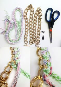 DIY Bracelet #fashion #DIY #jewelry #gold #metal #chain #schakelketting # wool