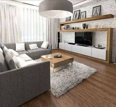 home furnishings-ideas-living-room-gray-corner sofa-wall unit-wood-white-brick . - home furnishings-ideas-living-room-gray-corner sofa-wall unit-wood-white-brick … Check mo - Living Room Grey, Home Living Room, Apartment Living, Interior Design Living Room, Living Room Designs, Living Room Decor, Decor Room, Home Decor, Design Interiors