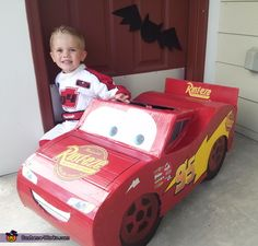 Brittney: This cute Lightning McQueen is our son, Dawson. He so badly wanted to be Lightning McQueen for Halloween but they only had race car driver costumes for that. My husband. Halloween Costume Contest, Toddler Halloween Costumes, Halloween 2018, Halloween Ideas, Costume Works, Disney Pixar Movies, Disney Cars, Race Car Costume, Lightning Mcqueen Costume