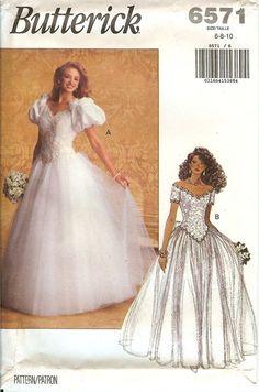 Butterick 6571 Bridal Wedding Gown Dress sewing pattern UNCUT FF vintage NEW OOP…