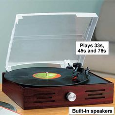 Turntable with Built-in Speakers from www.amerimark.com.