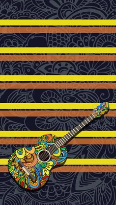 ↑↑TAP AND GET THE FREE APP! Shelves Beautiful Guitar Colorful Pattern Tracery Cool Multicolored HD iPhone 6 plus Wallpaper