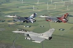 Aircraft prepare for the Nato Tiger Meet 2015, at Konya, Turkey, 4 -15 May. A French Armée de l'Air Dassault Rafale in formation with Turkish Air Force F-16s.
