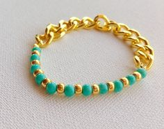 #gold #turquoise #bead #bracelet #simple #wedding #jewelry $12.99 on #yourcloudparade