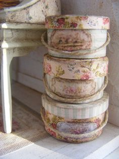 Miniature shabby chic hat boxes-12th scale by shabbychicminis