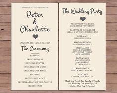 Wedding Program - Order Of Service - Printable Wedding - Rustic Wedding - Printable Program - Vintage Wedding - Cora by DarlingPaperCompany on Etsy https://www.etsy.com/listing/195461821/wedding-program-order-of-service