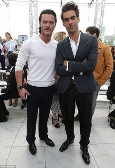 In good-looking company: The DJ joined Luke Evans and Jon Kortajarena at the Paris Fashion...