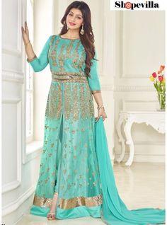 Ayesha Takia Turquoise Net Suit-90002