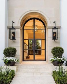 This entry is gorgeous. Love the doors! This entry is gorgeous. Love the doors! Door Design, Exterior Design, Interior And Exterior, Classic House Exterior, Luxury Homes Exterior, Modern Exterior Doors, French Exterior, Stone Exterior, Exterior Siding
