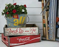 Salvage old wooden crates & buckets for a timeless retro decor