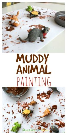 Muddy animal painting is a fun creative hands-on activity for toddlers and preschoolers! This activity would be perfect for a rainy day or an animal themed day! #preschoolerart #animalactivities #toddleractivities