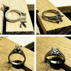 The later stages of creating an engagement ring. A modern design, with a round centre diamond in a 4-claw setting, and channel set round diamonds in the shoulders. Ready for a little polishing, ahead of its proposal. #harlequinjewellers #engagementring #bespoke