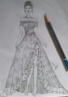High slit skirt with half shoulder top Dress Design Drawing, Dress Design Sketches, Fashion Design Sketchbook, Dress Drawing, Fashion Design Drawings, Fashion Sketches, Fashion Drawing Dresses, Fashion Illustration Dresses, Fashion Drawing Tutorial