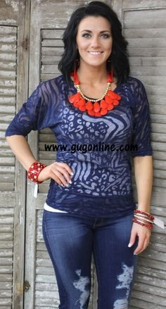Seconds SALE Navy Animal Print Simple Tunic- NOW IN PLUS SIZE $5.00 Small-3XL www.gugonline.com