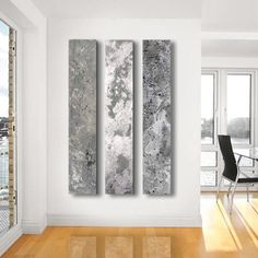 Metallic Abstract Paintings, - 3 panel CUSTOM abstract Wall Art, Home decor, - Steel, silver, Metal, Concrete, Stone on Etsy, $416.00