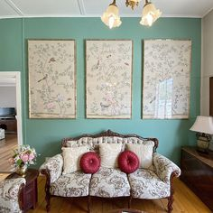 Chinoiserie Handpainted Artwork on Celadon Green Silk, panel size by Silk Wallpaper, Hand Painted Wallpaper, Chinoiserie Wallpaper, Wallpaper Panels, Green Silk, Pink Silk, Embroidered Bird, Silk Painting, Wall Spaces