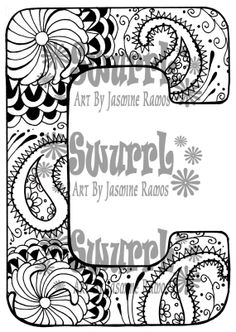 Instant Download Coloring Page Monogram Letter C by Swurrl on Etsy, $0.99