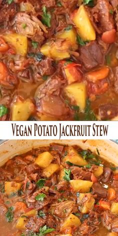A hearty, delicious and healthy vegan potato stew with meaty jackfruit, carrot, smoky spices and tomatoes that will make you go back for seconds and lick your bowls clean. Best served with garlic bruschetta to mop up all tha t tasty plant-based gravy. Veggie Recipes, Whole Food Recipes, Cooking Recipes, Healthy Recipes, Vegan Crockpot Recipes, Easy Recipes, Vegan Recipes Asian, Vegan Soul Food Recipes, Fall Vegetarian Recipes