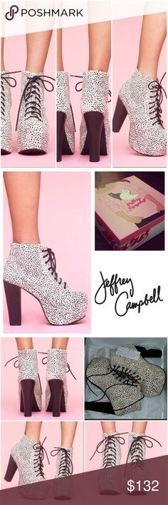 Jeffery Campbell Lita ꊛ jeffery campbell ↛ snow leopard lita collection ꊛ size 6.5   ꊛ nwt in box ↛ bought for Halloween to wear to work but only wore them for pictures.    Δ these are amazing! They are comfortable to walk in, for hours!  Platforms are 2 inches + the heel is 5 inches. The heels are wood and the outside of the shoes are soft hair like material.   ꊛ 15% off вµи∂ℓэs   ღ visit my closet for more bohemian styles Jeffrey Campbell Shoes Platforms