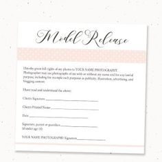 Photography Print Release Form Template, Photography Template ...