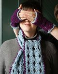 scarf  and fingerless gloves. free pattern from classiceliteyarns.com