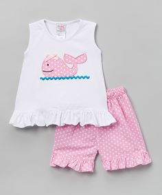 Look at this White & Pink Whale Top & Shorts - Infant, Toddler & Kids on #zulily today!