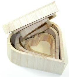 Design Your Own Set X3 Wood Box Heart Diy Unfinished Trinket/ Jewelry Craft
