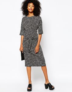Image 4 of Monki Printed Midi Dress With Knot Waist