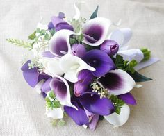 Wedding Bouquet Off White and Purple Heart Tulips and Calla Lilies Silk Flower Bride Bouquet - Almost Fresh