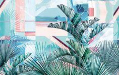 Carte da parati in stile tropicale