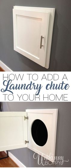 Wanting a laundry chute to easily drop the clothes from upstairs down? Here is a… Wanting a laundry chute to easily drop the clothes from upstairs down? Here is a detailed tutorial about how to add a laundry chute to an older home. Basement Laundry, Laundry Room Organization, Laundry Room Design, Laundry In Bathroom, Laundry Rooms, Organizing, Laundry Room Remodel, Closet Remodel, Laundry Closet