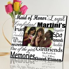 Personalized Maid of Honor Picture Frame - Bridesmaid Gifts - Wedding Gifts - $29
