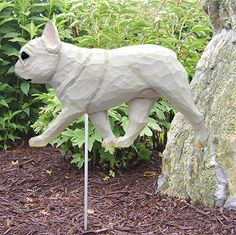 French Bulldog Outdoor Garden Dog Sign Hand Painted Figure Cream